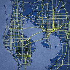Tampa Bay Florida City Prints Map Art