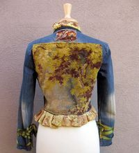 Jean Jacket  Victorian Style with Oak Tree Tapestry Silk Ruffles and Ribbon Wrapped Cuffs Small RESERVED for Cristysbox