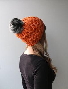 Wool & Acrylic Blend Yarn / Wool Hat / Faux Fur Pom Pom / Slouchy Beanie / Orange / Pumpkin / Spice / Burnt Orange / Carrot / Red-Yellow