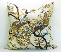 Dwell Studio Vintage Plumes pillow cover in Birch  by sparkmodern, $70.00
