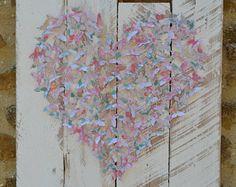 3D uycycled mariposa pared papel de arte/arte/reciclado arte personalizada hecha por habitación decoración/shabby chic/reciclado palets/cumpleaños/aniversario/mariposa