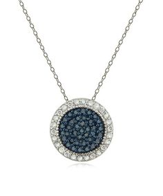 Loving this Blue & White Diamond Round Halo Pendant Necklace & Earrings Set on #zulily! #zulilyfinds