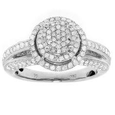 10k Yellow Gold 1ct TDW Diamond Halo Engagement Ring