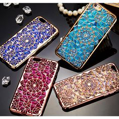 Luxury blue gold rose Plating Case 3D Rugged Flower Diamonds Phone Cases TPU soft Cover For Iphone 6 6S 4.7 / Plus SE 5 5S  Capa