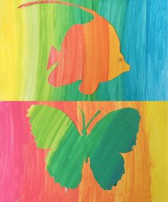 An interesting exercise on gradations has been made in classes of grade 8° by combining a background and a silhouette painted with gradations in complementary colors. First the students have painte…