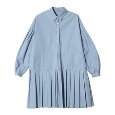 Newly Puff Sleeve Lapel Shirt Dress Ruched Baggy Front Pockets Korean... ❤ liked on Polyvore featuring dresses, ruching dress, blue dress, puff sleeve dress, shirt-dress and puff shoulder dress