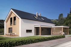 Kombinacija lesene in bele kontaktne fasade Modern Barn House, Barn House Plans, Dream House Plans, Modern House Plans, House Roof, Facade House, Long House, Roof Architecture, Shed Homes