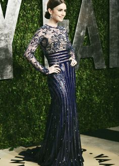 Lily Collins in Zuhair Murad Couture |Vanity Fair Oscars Party 2013