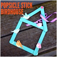 Spring Craft for Kids: Popsicle Stick Birdhouse Popsicle Stick Birdhouse, Popsicle Stick Houses, Birdhouse Craft, Popsicle Stick Crafts, Craft Stick Crafts, Preschool Crafts, Birdhouses, Kids Crafts, Craft Ideas