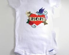 Tattoo baby bodysuit. Heart breaker Mom tat for your glam punk baby. Custom embroidered heart ink for your mini me. Hardcore baby clothes