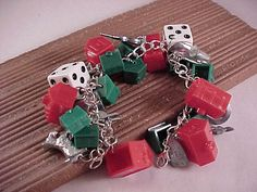 Monopoly Game Piece Charm Bracelet by OutOfTheAshes on Etsy, $26.00