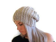 Chunky Slouchy Beanie Womens Hat Mens Hat Hand Knit by elenis4you