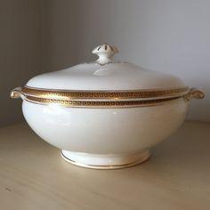 Bistro England Vintage Serving Dish, Gold Stripe  Black Greek Pattern Serving Bowl with Lid, English Vegetable Dish, Soup Bowl by CupandOwl on Etsy