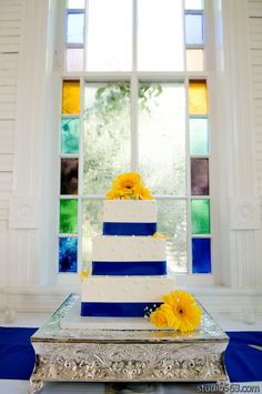 yellow and blue themed cake