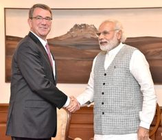 The US Defence Secretary, Mr. Ashton B. Carter calls on the Prime Minister, Shri Narendra Modi, in New Delhi on April 12, 2016.