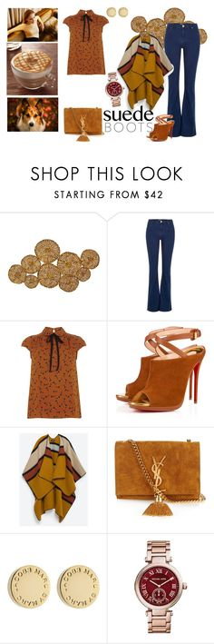 """Caramel Hue"" by martinapetrucci ❤ liked on Polyvore featuring Universal Lighting and Decor, River Island, Dorothy Perkins, Christian Louboutin, Zara, Corgi, Yves Saint Laurent, Marc by Marc Jacobs, Michael Kors and leafprint"