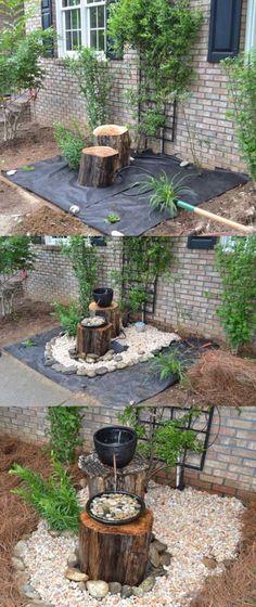 Créez une fontaine de jardin avec des galets, 2 vases et 2 gros rondins de bois.