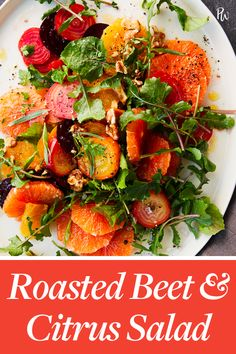 Roasted Beet and Citrus Salad # gluten-free dish # dairy-free 500 calories course Beet Recipes, Healthy Salad Recipes, Whole Food Recipes, Fresco, Healthy Lunches For Work, Easy Vegetarian Dinner, Roasted Beets, Vegan Appetizers, Easy Salads
