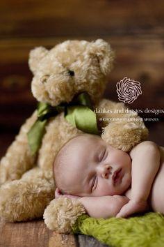 Dallas Newborn Baby Photographer  newborn with teddy bear