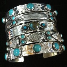 Sterling and turquoise cuff bracelets by Richard Schmidt - fabulous! Pierre Turquoise, Turquoise Cuff, Turquoise Jewelry, Turquoise Bracelet, Silver Jewelry, Wedding Turquoise, Bohemian Jewelry, Indian Jewelry, Navajo Jewelry