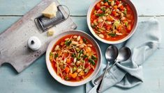 Minestrone is a classic Italian soup made with vegetables and often beans and pasta. Here are minestrone soup recipes for any season - fresh green vegetables in spring or hearty beans in winter. Lunch Box Recipes, Healthy Soup Recipes, Healthy Snacks, Healthy Eating, Bbc Recipes, Vegan Recipes, Healthy Detox, Cheese Recipes, Italian Soup