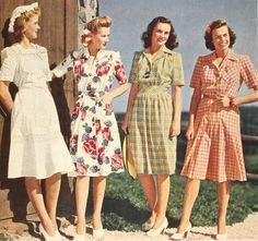Four lovely summer dresses from the 1943 Sears catalog. #vintage #1940s dresses plaid floral green white red #fashion