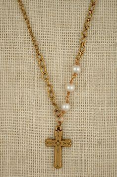 Vintage cross by Exvoto Vintage can be custom monogrammed.