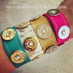 Shotgun Shell Bracelets in Gold or Silver with Crystals! for emily! Shotgun Shell Crafts, Shotgun Shell Jewelry, Ammo Jewelry, Jewelry Crafts, Jewelery, Jewelry Accessories, Jewelry Design, Shotgun Shells, Bullet Casing Jewelry