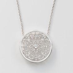 Crystal set in rhodium plating;  Such a pretty piece! https://sites.touchstonecrystal.com/sites/evelynbrady