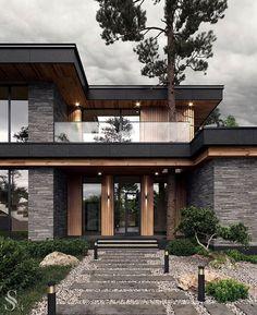 Best interiors of Studia 54 - portfolio Modern House Facades, Modern Exterior House Designs, Modern Architecture House, Modern House Plans, Architecture Portfolio, Modern Houses, Modern Brick House, Amazing Architecture, Best Modern House Design