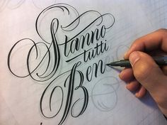 hand penned, tracing.  Lettering inspiration.