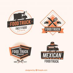 Food truck logos with elegant style Free Vector