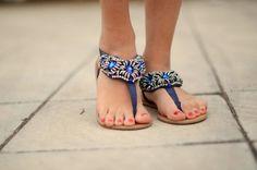 blue sandals.