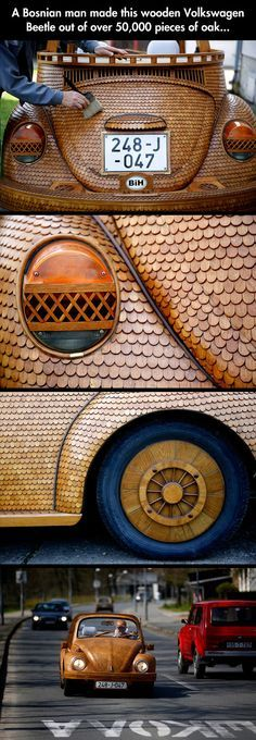 Wooden Volkswagen - Click to see all 9 of the detailed photos and check out his cap.