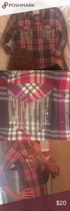 SALE Plaid Sequin Pocket long sleeve Top Super Cute Plaid long sleeve Top w/ sequins. New w/ tags. Mudd Tops Button Down Shirts