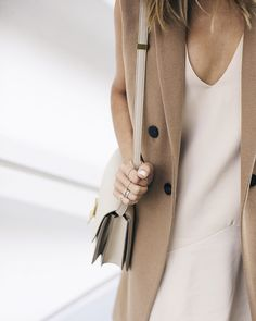 Aimee Song of Style Camel Sleeveless Coat Celine Box Bag