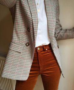Plaid Blazers Dark Orange High Rise Pants White Top Style Source by baileecas Blazer Outfits, Plaid Blazer, Casual Outfits, Casual Blazer, Blazer Dress, Dress Outfits, Blazer Fashion, Style Blazer, Sleevless Blazer