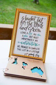 A bucket list for the bride and groom is a fantastic idea as a guest book!
