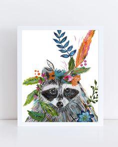 Art print of raccoon in flower crown by Bari J. Raccoon art print. Christmas gift art. Illustration by Bari J. Art. Children's wall art. decor. kid art