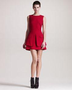 Fall's Red Trend from Goodman - Black by Alexander McQueen Trompe L\'oeil-Jacket Dress Black Dress Jacket, Dress Black, Tank Dress, Peplum Dress, Alexander Mcqueen Dresses, One Piece Dress, Short Dresses, Dresses 2013, Mini Dresses