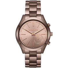 Michael Kors Access MKT4019 Women's Slim Runway Bracelet Strap Hybrid... ($330) ❤ liked on Polyvore featuring jewelry, watches, alarm wrist watch, digital wrist watch, alarm watches, leather-strap watches and coin jewelry
