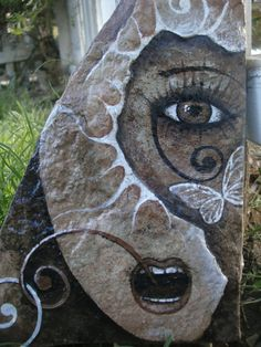 Watchful EYE on Nature - unique original painting on flagstone. $46.00, via Etsy.
