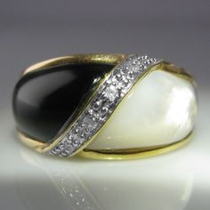 A Mother of Pearl, Onyx and Diamond dress ring. This beautiful ring is set in yellow gold. Gemstone Colors, Gemstone Rings, Galway Ireland, Dress Rings, Engagement Jewelry, Pearl Ring, Beautiful Rings, Rings For Men, Diamonds