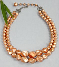 Vintage 2 Strand Beaded Necklace ~ Peach Faux Pearl Beads ~ Holiday Gift For Her #Beaded2Strand