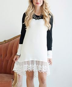 Look at this Black & White Lace-Hem Shift Dress on #zulily today!