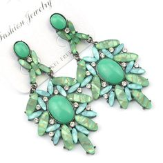 Neon CZ Forest GP Rare Acry Gem Bib Statement Green Dangle Stud Earrings X1276H