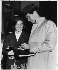 'The Fool Killer' star Anthony Perkins signs an autograph for Debbie Murrian on April 27, 1965, at Municipal Airport. She is the daughter of John Murrian, administrative assistant to Mayor Leonard Rogers