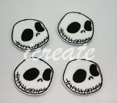 Halloween Jack Skellington Felties Machine Embroidered Felt for Hair Bow or Clip Embellishments. $3.50, via Etsy.