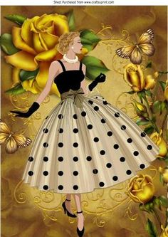 Elegant lady with pretty gold roses and butterflies A4 on Craftsuprint - Add To Basket!