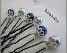 Etwas blau Haarnadeln Hochzeit Zubehör, Brautjungfer Hochzeit Haarnadeln, silber blau Haarnadeln, Brautjungfer Geschenk, Nacht blau Hochzeit